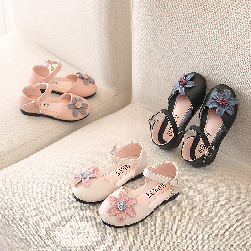 Kids Shoes For Girl Leather Casual Shoes Cute Baby Flower Single Princess Shoes Leather Children Toddler Girl