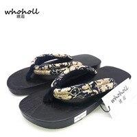 Whoholl الرجل المتأرجح الصيف زوجين اليابانية خشبية جيتا قباقيب خشبية النعال الرجال النعال منصة حذاء مسطح الرجل