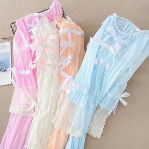 Image 1 - Camisón de encaje de verano para mujer, ropa de dormir de manga larga, color sólido, de talla grande, con cuello redondo, Sexy