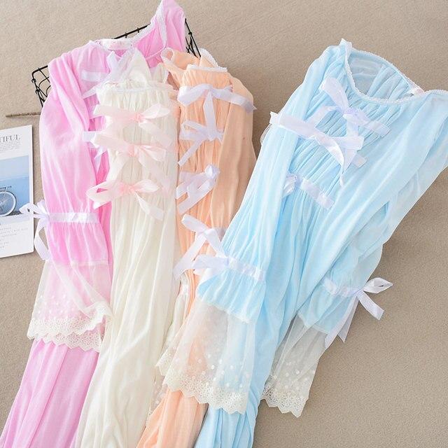 Camisón de encaje de verano para mujer, ropa de dormir de manga larga, color sólido, de talla grande, con cuello redondo, Sexy