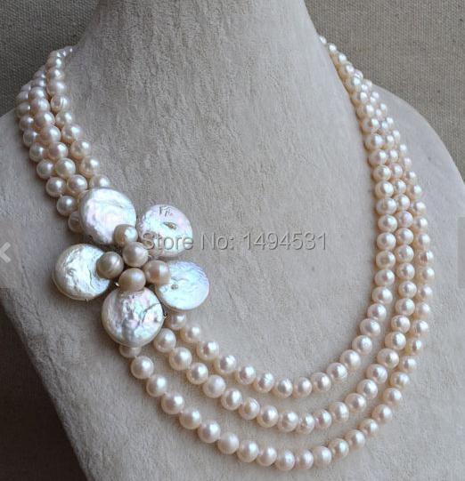 Bijoux en perles en gros-19-21 pouces fleur de pièce de monnaie 7-8 MM Triple-rangées véritable collier de perles d'eau douce-cadeau de fête de mariage.
