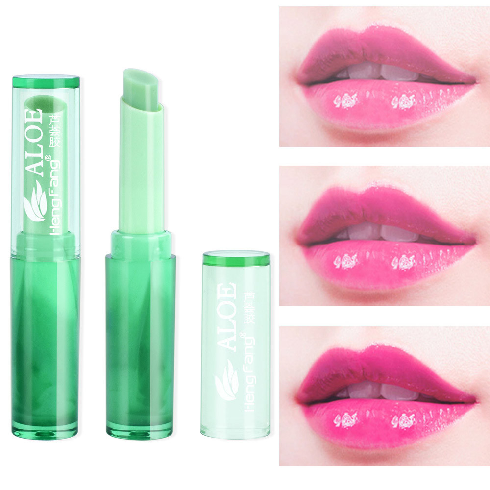 1 pc New Protect Lip Moisturizer Nutritious Lipbalm Makeup Aloe Vera Plant Lipstick Women Temperature Change Color Lip Stick image