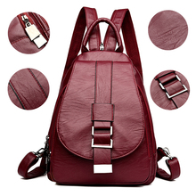 2019 Women Leather Backpacks Vintage Female Shoulder Bag Sac a Dos Travel Ladies Bagpack Mochilas School Bags For Girls Preppy цена в Москве и Питере
