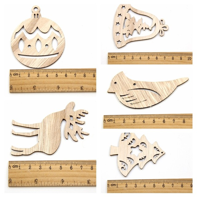 10PCS DIY Christmas Snowflakes&Deer&Tree Wooden Pendant Ornaments For Christmas Party Xmas Tree Ornaments Kids Gifts Decorations 17