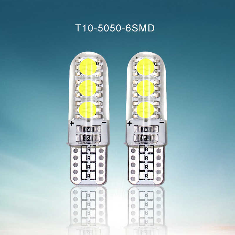 2 PCS Car LED T10 Bulbs 12V 5050 6 SMD White Silicone W5W 194 Park Light Auto Trunk Lights Interior Dome Reading Door Lamp Bulb