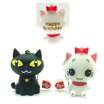 (over 10 PCS) Free LOGO customized pen drive cartoon black/white cat pendriver 8gb 16gb 32gb usb flash drive memory stick gift