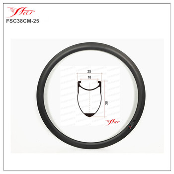 Disc brake Farsports FSL38-CM-25 Clincher 38mm 25mm XC cycling bicycle clincher carbon rim, 38mm height cyclocross carbon rimset image