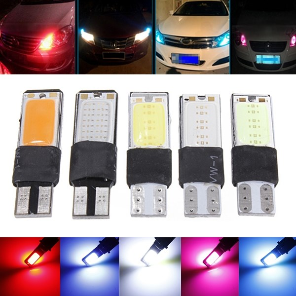 New T10 W5W 194 168 COB 12 Chip LED Auto Car Interior Wedge Width Bulb Lights Side Door Lamp DC12V White/Ice blue/Blue/Red/Pink 10pcs car style interior led t10 cob w5w 168 wedge door instrument side bulb lamp car light white blue green red yellow source