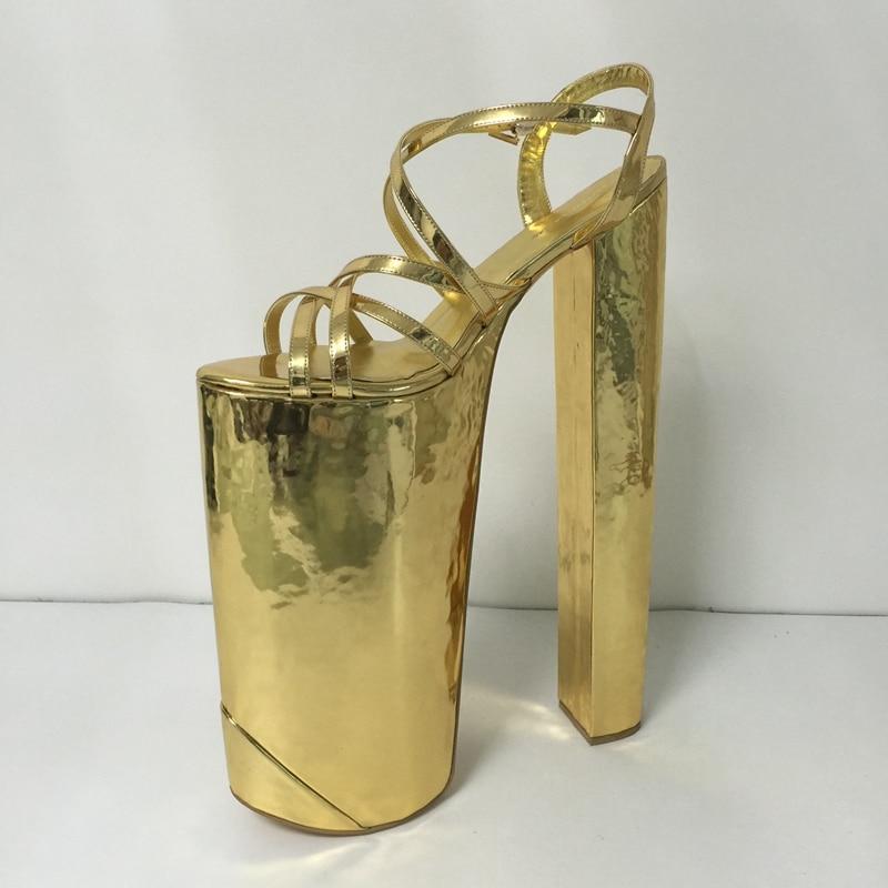 Customized Gold Women Sandal Extrem High Heels Cross tied Open Toe Summer Shoes Women Size 14 Runway Shoes Open Toe Heels 35cm