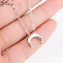 Jisensp Delicate Double Horn pendant Necklace Curved Crescent Moon