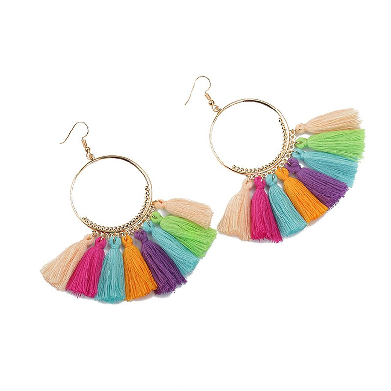 New Bohemian Handmade Statement Tassel Earrings Women Vintage Round Long Drop Earrings Wedding Party Bridal Fringed Jewelry