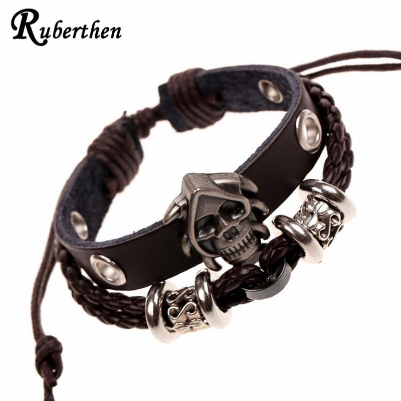 Ruberthen Vintage Design Skull Men`s Punk Leather Bracelet Popular Leather Bracelet Leather Jewelry Drop Ship Free Shipping