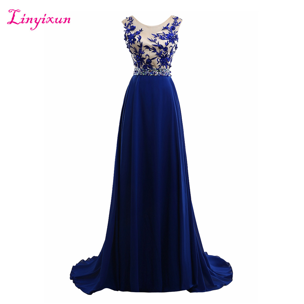 Linyixun Real Photo Royal Blue Chiffon   Prom     Dresses   2017 Elegant Party Long Sexy Beaded Cheap Formal Long Evening   Dresses