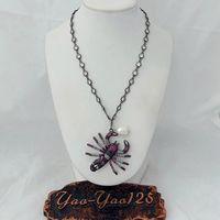18 Cz Pave Gunmetal Chain Necklace White Pearl CZ Pave Scorpion Pendant