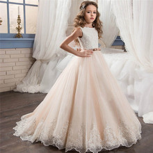 New First Communion Dresses for Girls Champagne O-neck Sleeveless Ball Gown Lace Appliques Flower Girl Dresses for Weddings flower girl dresses for weddings ball gown tulle appliques lace long sleeves first communion dresses real picture high quality
