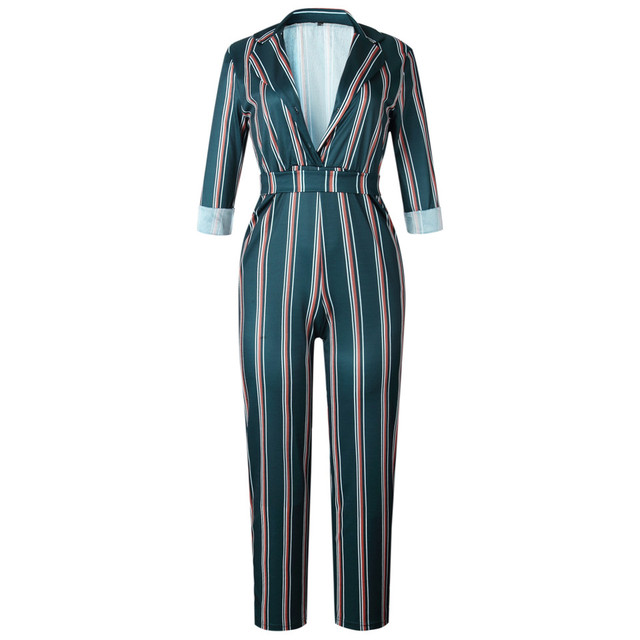 Fashion striped printed jumpsuits for women 2018 Half sleeve turn down collar long rompers womens jumpsuit Autumn new overalls 4