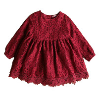 Autumn Winter Girl Lace Dress With Big Bow Korean Cute Children Kids Dress Prom Wedding Party