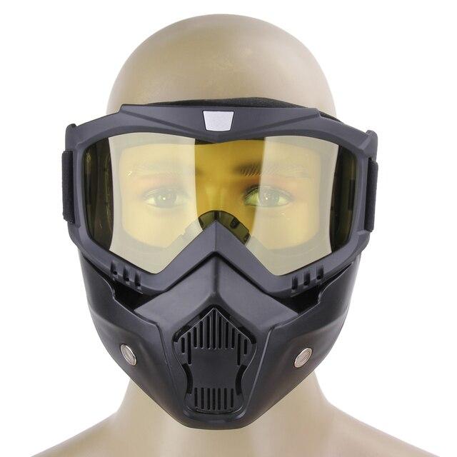 Lunettes de moto Masque amovible, Harley Style Casque de protection de rembourrage Lunettes de soleil, Route d'équitation UV Lunettes de moto, mixte femme (Yellow Lens)