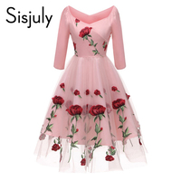 Sisjuly Lace Women Dresses Vintage Preppy Style Sweet Rose Cute Floral Mesh Embroidery Elegant Short Party Dresses For Girls