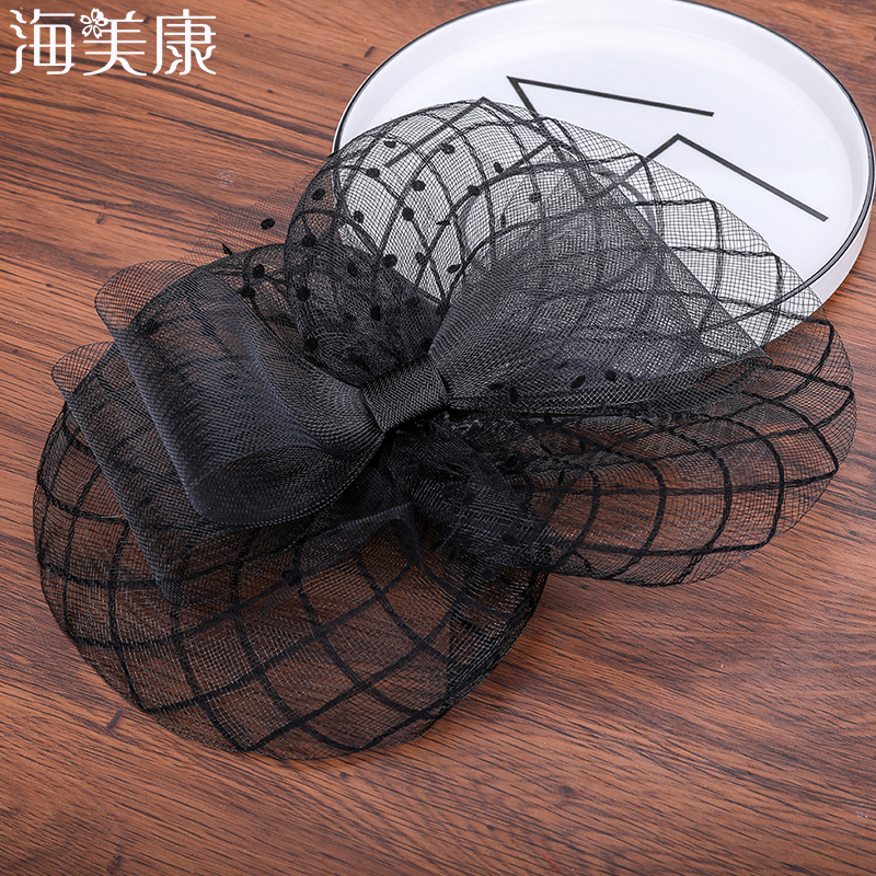 Haimeikang Wedding Holiday Fascinator Cocktail Hat Hollow Bow Hair Headdress Retro Fashion Ladies Party  Hairpins  Accessories