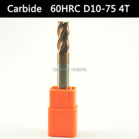 1 PCS end mill milling cutter Carbide Endmills 4 Flutes CNC Cutting tools Cutter 10mm real 60 HRC Flattende