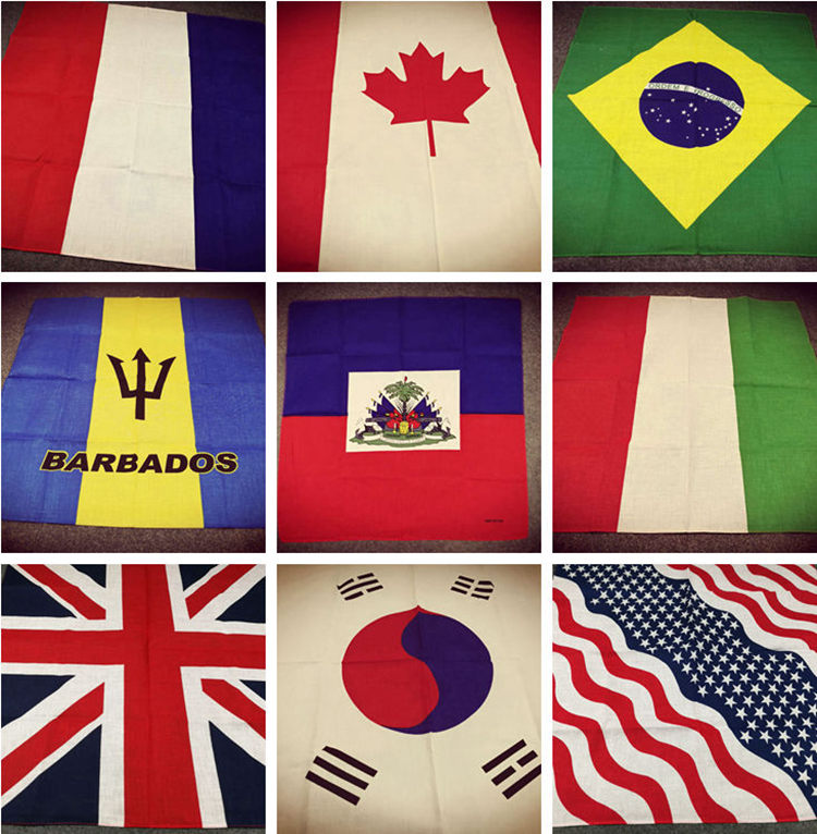 Cotton Flag Series USA UK France South Korea Brazil Germany Canada Mexico Punk Hip-hop Headwear/Hair Neckerchief Scarf Bandanas
