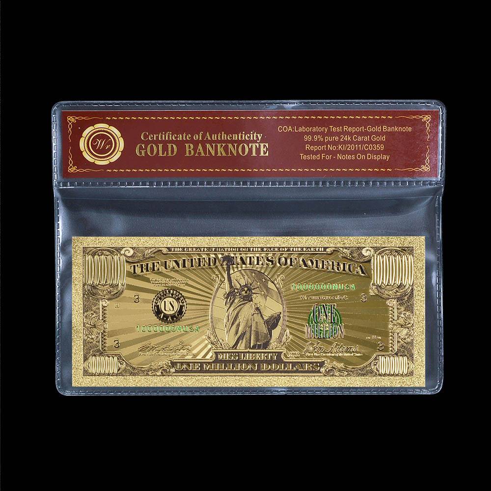 US Gold Banknote Color $1 Million Dollar Currency Bill