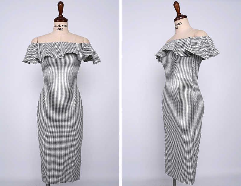Сексуальное облегающее платье с оборками и открытыми плечами, клетчатые платья средней длины с тонкой талией, вечерние платья для женщин, летние платья