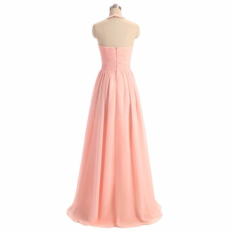 A-Line Floor Length Pink Bridesmaid Dress 1