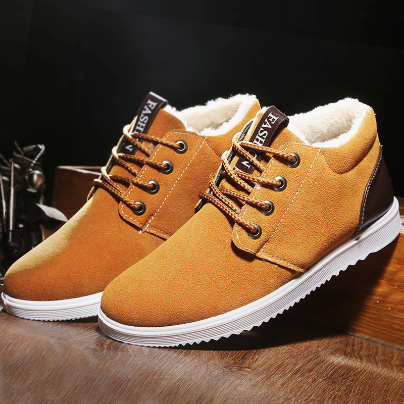 Men snow boots waterproof 2017 new superstar short plush warm boots suede 39 44 winter shoes