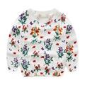 2016 spring summer children girl sweaters cotton long sleeve cartoon o-neck baby girl flower sweater children coat 1-5y