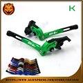 Para kawasaki er-6f er6f 2006 07 08 09 2014 2015 2016 con logo motocicleta plegables extensibles freno ajustable palanca de embrague