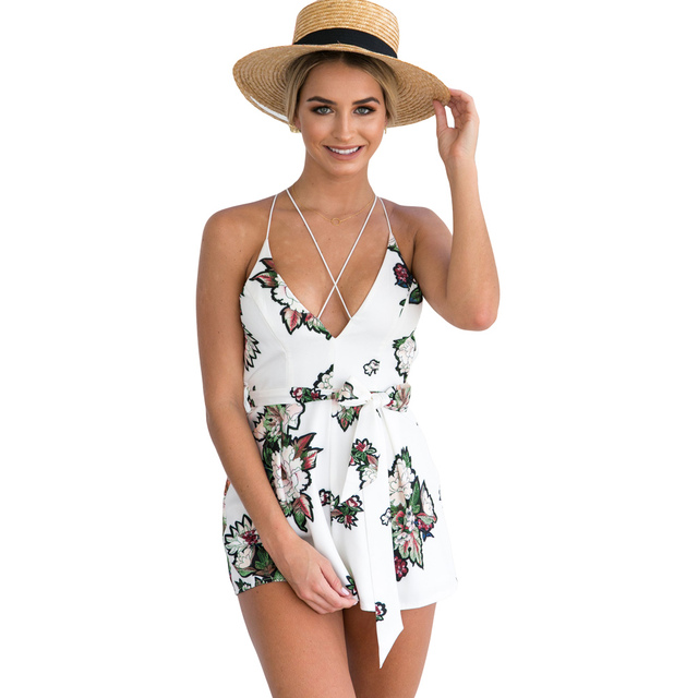 5a2b3a5ca97 Plung V Neck Summer Rompers Womens Jumpsuit Sexy Sleeveless Beach Overalls  For Women Playsuit Backless Combinaison