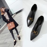 European and American casual metal ornaments women pointed toe genuine leather pumps female soft leather pearl beading shoes