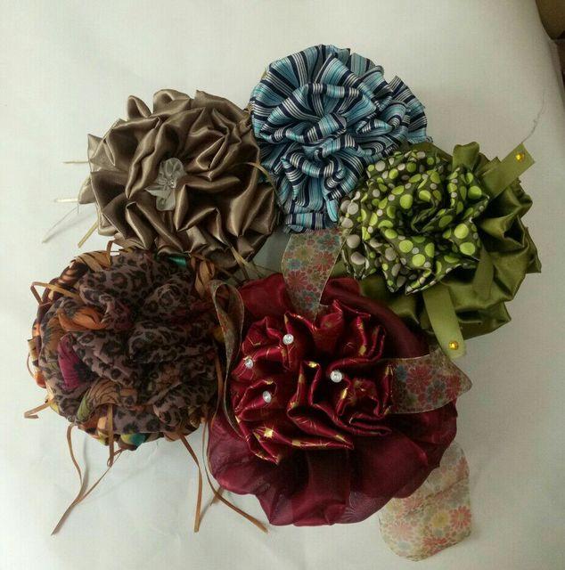 f479a77628 big satin flower clip khaleeji flower clamp hijab volumizer claw puffy and  nice 12pcs/lot