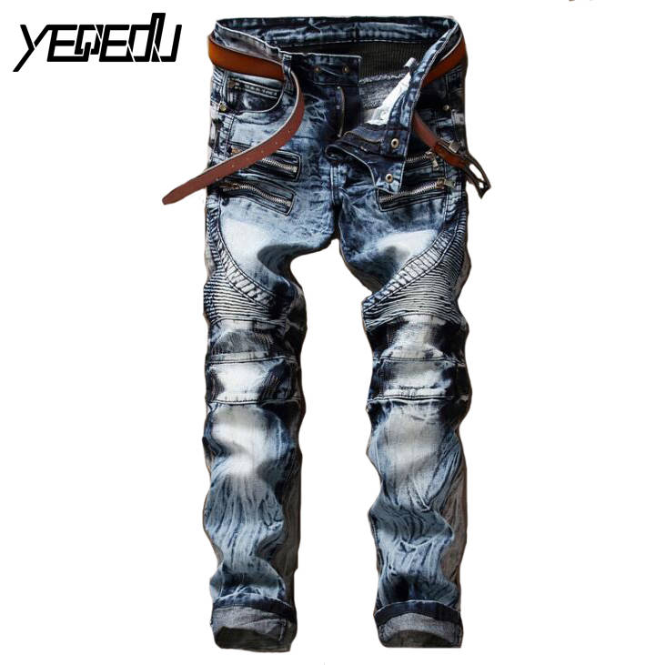 Hot Best Men S Jeans Fashion Fake Designer Clothes Biker With Zippers Skinny Mens Tapered