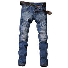 купить Blue Color Fashion Mens Jeans Vintage Retro Designer Motorcycle Ripped Jeans Balplein Brand Destroyed Biker Jeans Men Pants дешево
