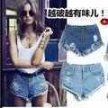 Лето женщина джинсовой 2016 шорты джинсы отверстия sexy vintage кисточки джинсовые шорты случайные джинсы женщин шорты синий, белый, черный