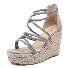 Luxury Brand Designer Espadrilles Wedge Sandals 2016 Rope Heels Women Platform Sandals Gladiator Summer Shoes