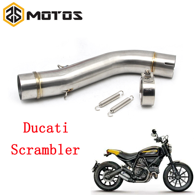 ZS MOTOS 51mm Silencer Stainless Steel Motorcycle Exhaust Middle Pipe Round Muffler For Ducati Scrambler Moto Escape Accessory