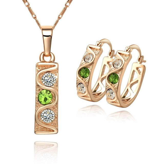 18KCC05 Free shipping wholesale 18K CC color Rhinestone Crystal Gold plated women jewelry set.Factory price