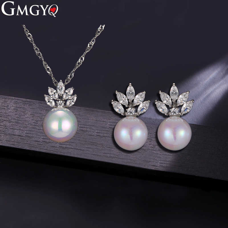 GMGYQ Brand New Pearl Jewelry Sets For Women Fashion Jewelry Necklace And Earrings Crystal Set Of Zircon Jewelry