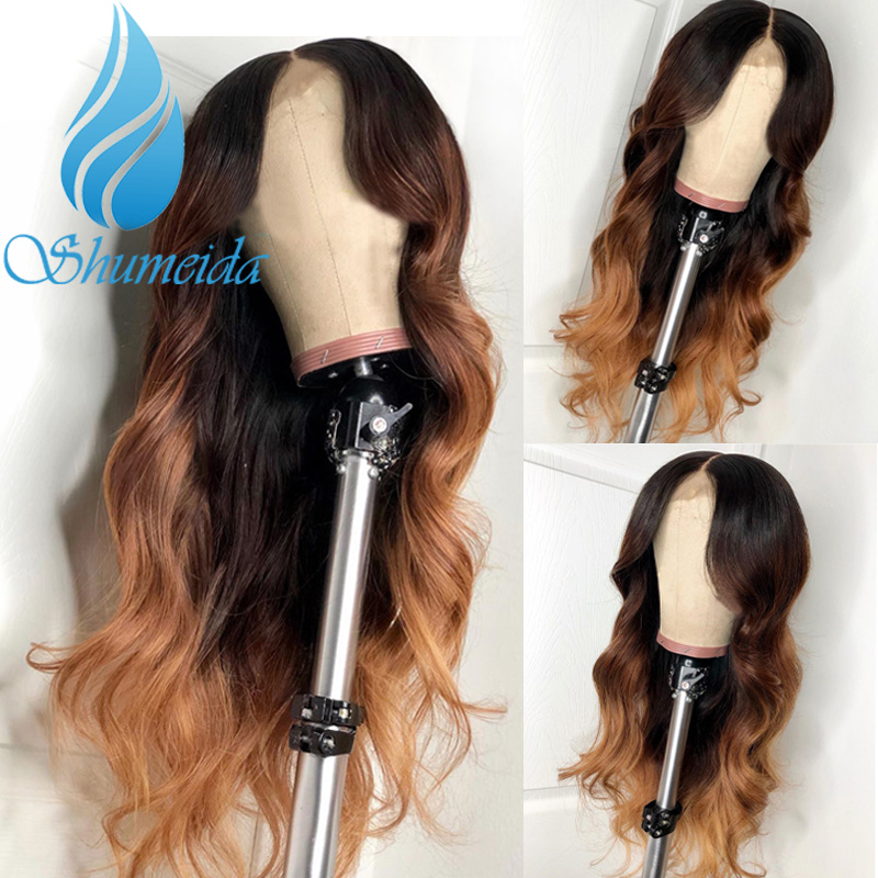 Ombre Color 360 Lace Front Wig With Baby Hair 3 Tones Color Brazilian Remy Human Hair