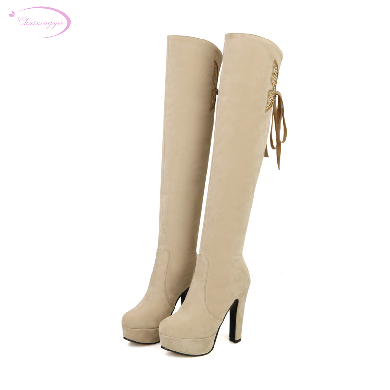 Round Toe Over Knee High Boots
