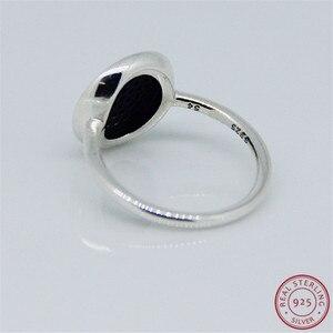 Image 4 - 925 prata esterlina clássico assinatura anéis de instrução para mulher jóias característica central brilhante disco pave conjunto claro cz flr021