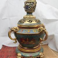 Tibet old Bronze Cloisonne Beast Face Dragon Head Buddhism Censer burner Censer