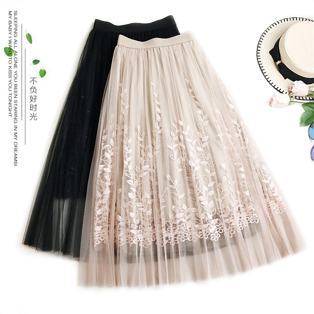 2018 New Fashion Pleated Mesh Skirt Heavy Embroidery Skirt Embroidered Mesh Long Skirt