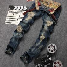 Бесплатная доставка 2016 новых прибыл отверстие нищий мужские джинсы прямые тонкий синий trendency личности джинсы мужчины размер 28-36