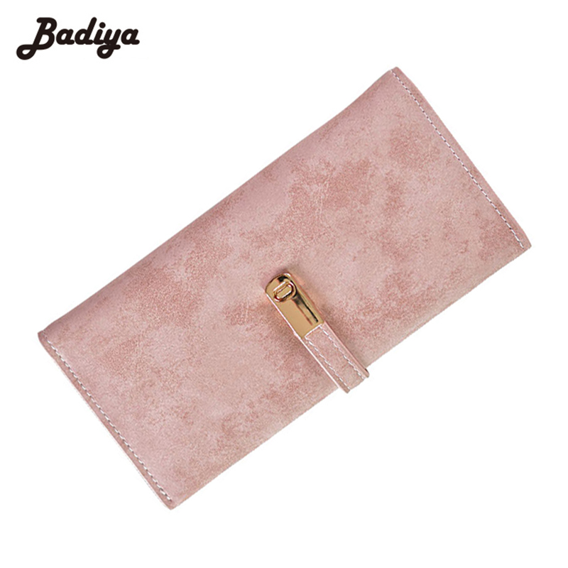 Vintage Thin Matte PU Leather Slim Puese Student Long Bifold Women Phone Case Coin Pocket Card Holder Fashion Female Wallet