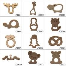 10 pçs seguro kara dentição bebê mordedor bonito antlers design anel de madeira forma animal brinquedo de madeira artesanal mordedor girafa mordedor